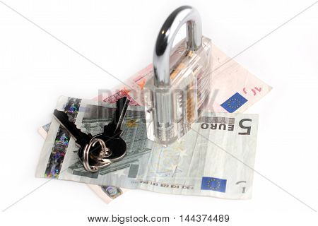 the euro and the padlock with keys