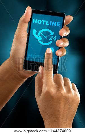 a woman finger call a hotline on a mobile phone