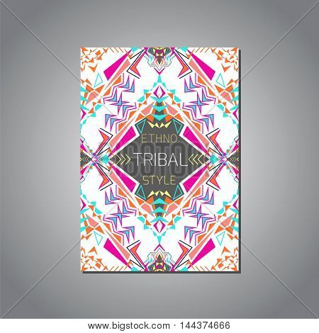 Vector geometric colorful brochure template for business and invitation. Ethnic tribal aztec style. A4 format. Modern ethno ikat pattern