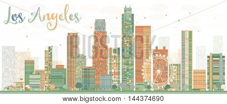 Abstract Los Angeles Skyline with Color Buildings. Vector Illustration.