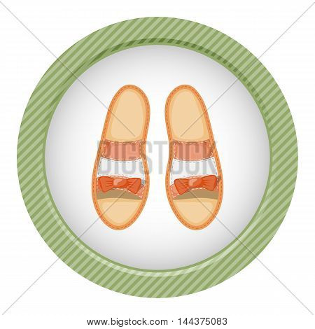 Woman shoes colorful icon. Vector illustration in cartoon style