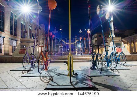 JERUSALEM, ISRAEL - JUNE 2, 2015: Colorful bikes exposition in Jerusalem. June 2, 2015. Jerusalem, Israel.