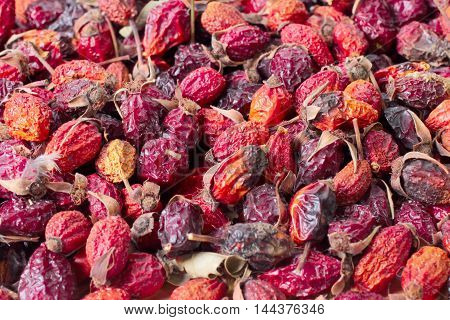 Dried fruits of wild rose prepared for recycling