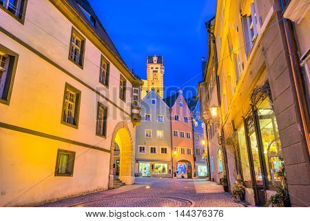 Night at Fussen town in Bavaria Germany.