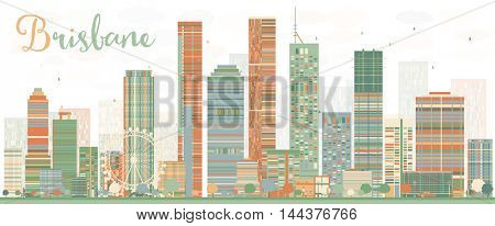 Abstract Brisbane Skyline with Color Buildings. Vector Illustration.