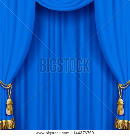 Light blue curtain with gold tassels. Artistic poster and background