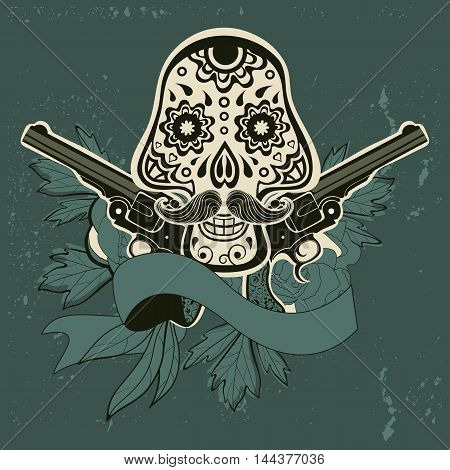 Hand drawn sugar skull with flowers and guns. vector iilustration