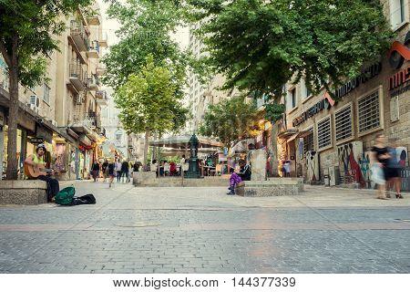 JERUSALEM, ISRAEL - JUNE 2, 2015: One of the central streets of Jerusalem with cafes and restaurants.