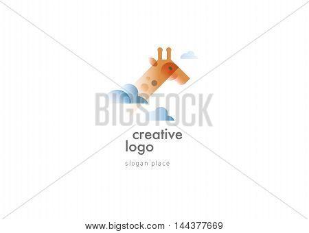 Creative development of the logo in the clouds giraffe
