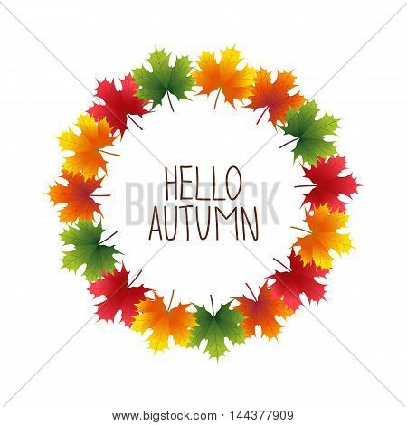 Banner advertising and autumn colored maple leaves around