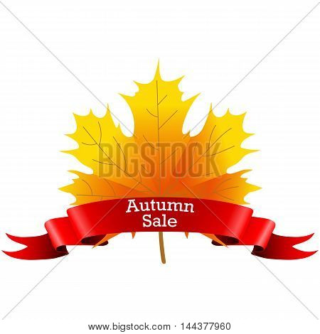 Autumn Sale on a maple leaf with a red ribbon