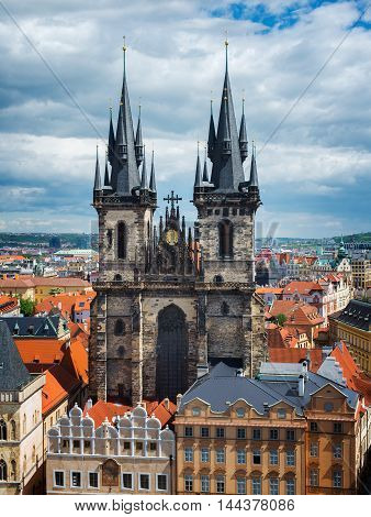 top views of the old town in Prague