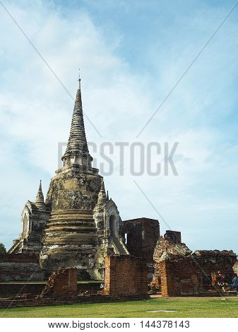 Ancient pagoda with nature background in Thailand.