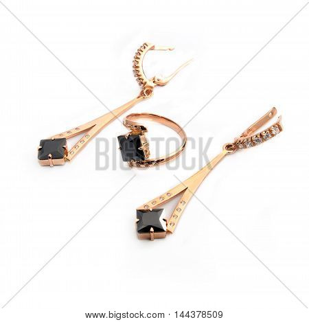 earrings and ring isolated on white background
