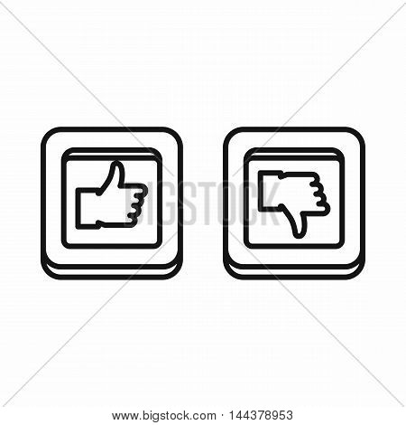 Thumbs up and down square buttons icon in outline style on a white background