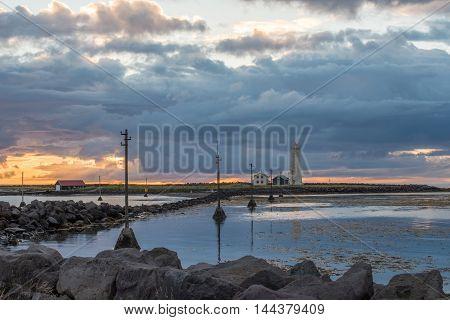 Icelandic sunset at Grotta lighthouse in Reykjavik