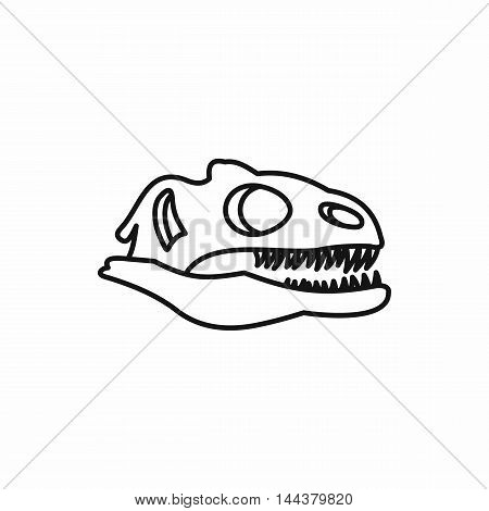 Dinosaur skull icon in outline style on a white background