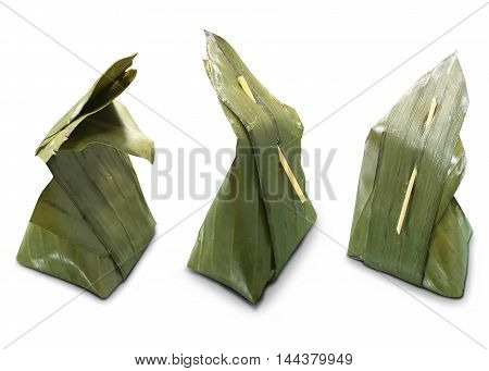 Banana leaf apply to packaging Thai dessert. Thai dessert wrapped in banana leaves.