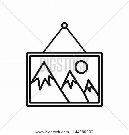 Picture in a frame on the wall icon in outline style on a white background
