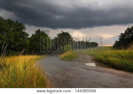 After the rain on the road. Moravian landscape Jablonany.