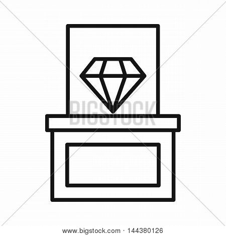 Diamond on a pedestal icon in outline style on a white background