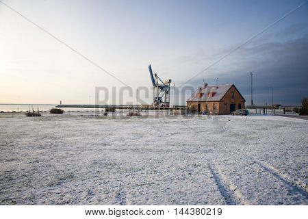 Crane on the beach in the winter in Sweden