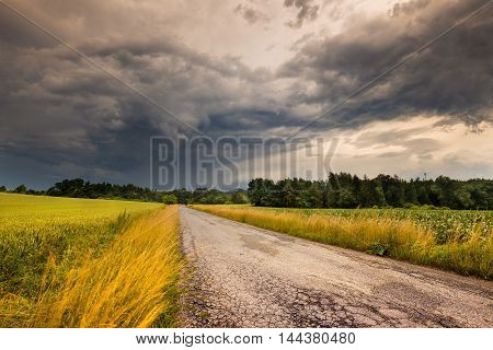 Dense clouds before the storm. Moravian landscape Obora.
