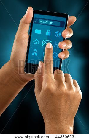 a woman finger select a mail icon on a mobile menu