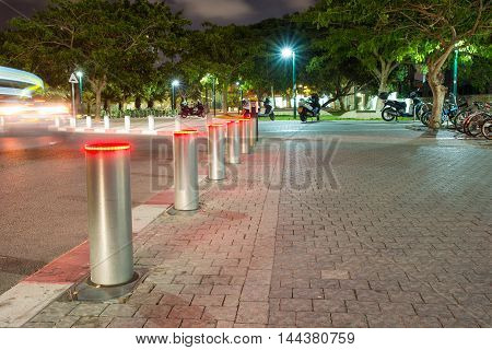 TEL AVIV, ISRAEL - JUNE 5, 2015: Parking at night in the park