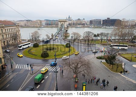 BUDAPEST, HUNGARY - MARCH 12, 2015: The Chain Bridge is a suspension bridge that spans the River Danube between Buda and Pest. March 12, 2015. Budapest, Hungary.