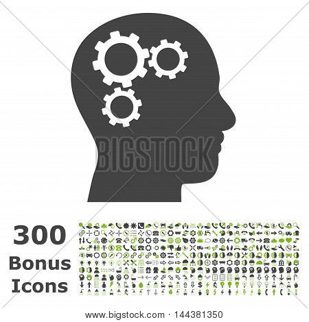 Brain Gears icon with 300 bonus icons. Vector illustration style is flat iconic bicolor symbols, eco green and gray colors, white background.