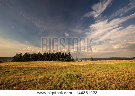 Nice view of the meadow and sky. Moravian landscape Boskovice.