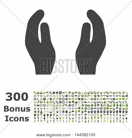 Care Hands icon with 300 bonus icons. Vector illustration style is flat iconic bicolor symbols, eco green and gray colors, white background.