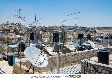 JERUSALEM, ISRAEL - JUNE 2, 2015: View of the old town with an ancient wall