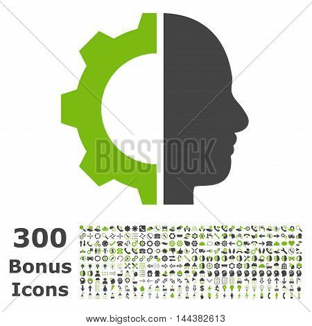 Cyborg Gear icon with 300 bonus icons. Vector illustration style is flat iconic bicolor symbols, eco green and gray colors, white background.