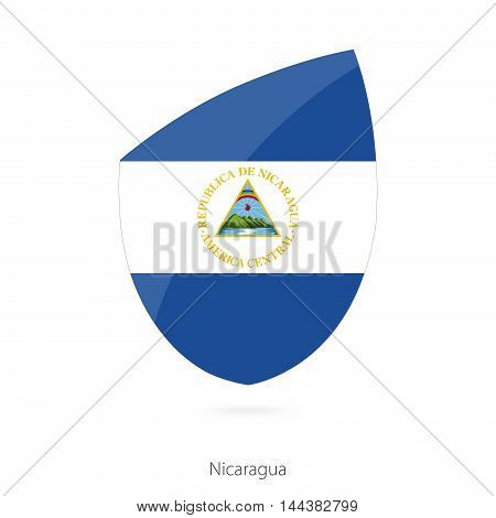 Flag Of Nicaragua In The Style Of Rugby Icon.