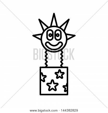 Clown jumping out from a box icon in outline style on a white background