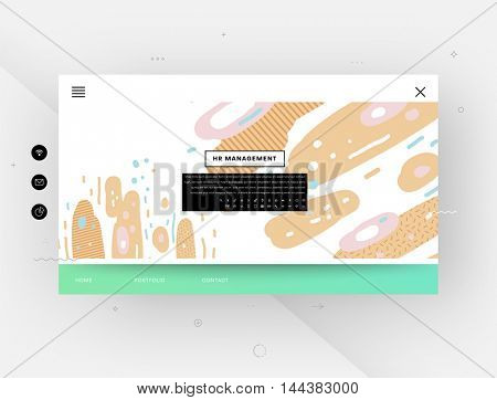 Website template, trendy geometric flat pattern, frame with abstract background for brochure, flyer or presentations design, vector illustration.