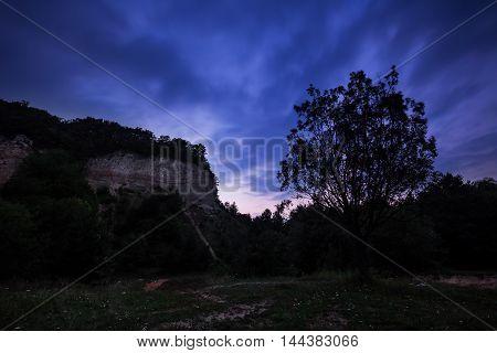 Blue hour Maly Chlum. Moravian landscape .