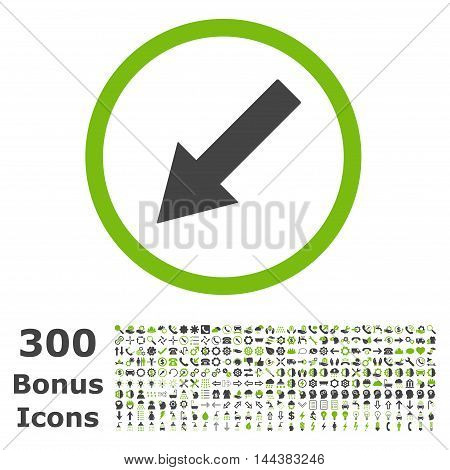 Down-Left Rounded Arrow icon with 300 bonus icons. Vector illustration style is flat iconic bicolor symbols, eco green and gray colors, white background.
