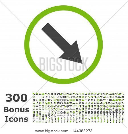 Down-Right Rounded Arrow icon with 300 bonus icons. Vector illustration style is flat iconic bicolor symbols, eco green and gray colors, white background.