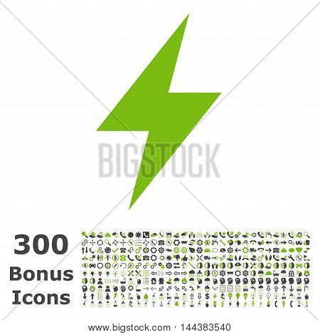 Electric Strike icon with 300 bonus icons. Vector illustration style is flat iconic bicolor symbols, eco green and gray colors, white background.