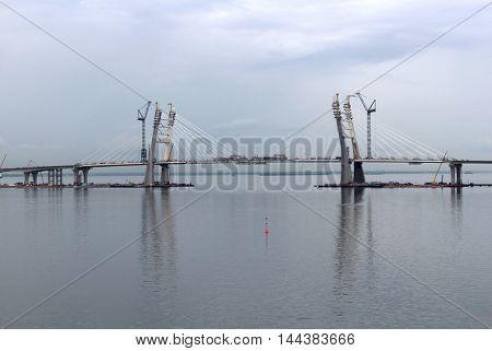 Large modern bridge over the water