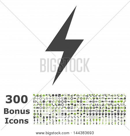 Electricity icon with 300 bonus icons. Vector illustration style is flat iconic bicolor symbols, eco green and gray colors, white background.