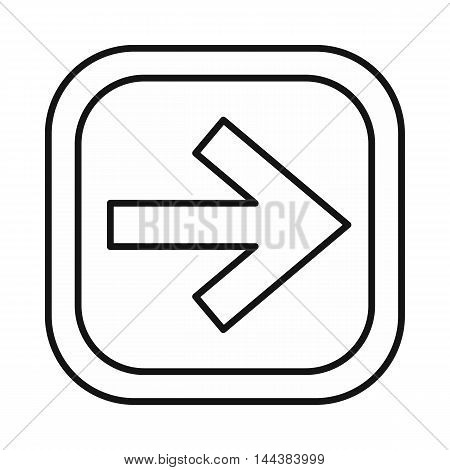 Arrow right on a button icon in outline style on a white background