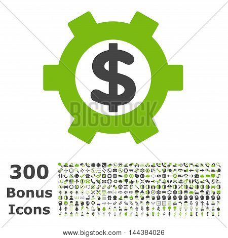 Financial Settings icon with 300 bonus icons. Vector illustration style is flat iconic bicolor symbols, eco green and gray colors, white background.