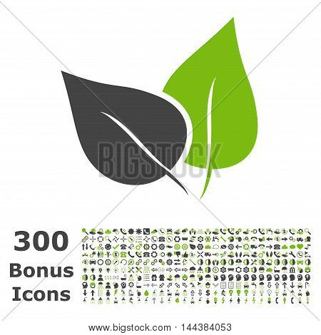 Flora Plant icon with 300 bonus icons. Vector illustration style is flat iconic bicolor symbols, eco green and gray colors, white background.