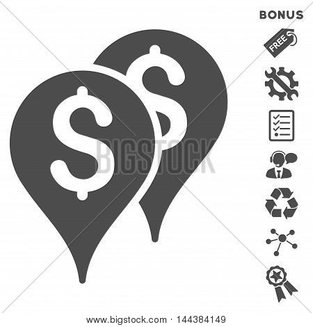 Bank Map Markers icon with bonus pictograms. Vector illustration style is flat iconic symbols, gray color, white background, rounded angles.