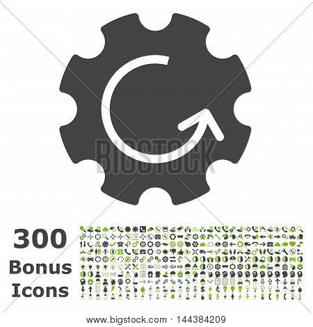 Gear Rotation icon with 300 bonus icons. Vector illustration style is flat iconic bicolor symbols, eco green and gray colors, white background.