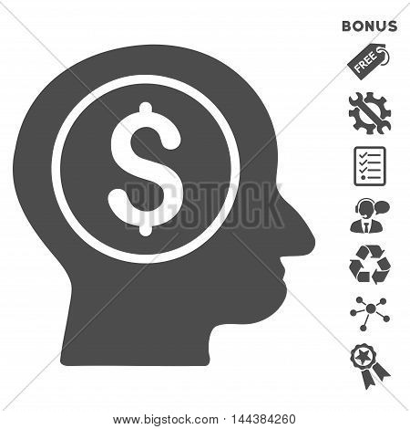 Banker icon with bonus pictograms. Vector illustration style is flat iconic symbols, gray color, white background, rounded angles.